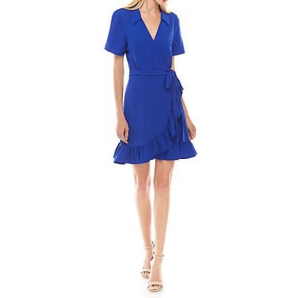Charles Henry Dresses & Skirts - Short Sleeve Collar Ruffle Wrap Dress